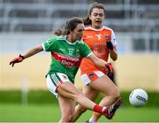 10 August 2019; Niamh Kelly of Mayo in action against Clodagh McCambridge of Armagh during the TG4 All-Ireland Ladies Football Senior Championship Quarter-Final match between Mayo and Armagh at Glennon Brothers Pearse Park in Longford. Photo by Matt Browne/Sportsfile