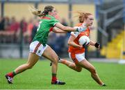 10 August 2019; Blaithin Mackin of Armaghin action against Danielle Caldwell of  Mayo during the TG4 All-Ireland Ladies Football Senior Championship Quarter-Final match between Mayo and Armagh at Glennon Brothers Pearse Park in Longford. Photo by Matt Browne/Sportsfile
