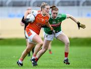 10 August 2019; Kelly Mallon of Armaghin in action against Aileen Gilroy of Mayo during the TG4 All-Ireland Ladies Football Senior Championship Quarter-Final match between Mayo and Armagh at Glennon Brothers Pearse Park in Longford. Photo by Matt Browne/Sportsfile