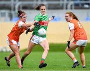 10 August 2019; Clodagh McManamon of Mayo in action against Maebh Mariarty of Armagh during the TG4 All-Ireland Ladies Football Senior Championship Quarter-Final match between Mayo and Armagh at Glennon Brothers Pearse Park in Longford. Photo by Matt Browne/Sportsfile