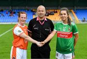 10 August 2019; Referee Jonathan Murphy with Armagh captain Caoimhe Morgan and Mayo captain Niamh Kelly before the TG4 All-Ireland Ladies Football Senior Championship Quarter-Final match between Mayo and Armagh at Glennon Brothers Pearse Park in Longford. Photo by Matt Browne/Sportsfile