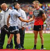 10 August 2019; Goalkeepers Stephen Cluxton of Dublin and Rob Hennelly of Mayo shake hands ahead of the GAA Football All-Ireland Senior Championship Semi-Final match between Dublin and Mayo at Croke Park in Dublin. Photo by Ramsey Cardy/Sportsfile