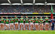 10 August 2019; The Mayo team, from left, Lee Keegan, Colm Boyle, Patrick Durcan, Aidan O'Shea, Seamus O'Shea, Fionn McDonagh, Cillian O'Connor, James Carr, Donal Vaughan and Matthew Ruane ahead of the GAA Football All-Ireland Senior Championship Semi-Final match between Dublin and Mayo at Croke Park in Dublin. Photo by Ramsey Cardy/Sportsfile