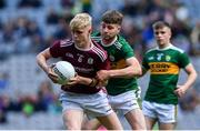 11 August 2019; James McLaughlin of Galway is tackled by Ronan Collins of Kerry during the Electric Ireland GAA Football All-Ireland Minor Championship Semi-Final match between Kerry and Galway at Croke Park in Dublin. Photo by Brendan Moran/Sportsfile