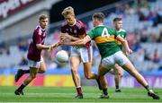 11 August 2019; Cian Hernon of Galway is tackled by Kieran O'Sullivan of Kerry during the Electric Ireland GAA Football All-Ireland Minor Championship Semi-Final match between Kerry and Galway at Croke Park in Dublin. Photo by Brendan Moran/Sportsfile