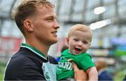 10 August 2019; Mike Haley of Ireland with his son Frank after the Guinness Summer Series 2019 match between Ireland and Italy at the Aviva Stadium in Dublin. Photo by Brendan Moran/Sportsfile