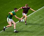 11 August 2019; Emmet O'Shea of Kerry in action against Liam Tevnan of Galway during the Electric Ireland GAA Football All-Ireland Minor Championship Semi-Final match between Kerry and Galway at Croke Park in Dublin. Photo by Ray McManus/Sportsfile