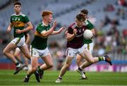 11 August 2019; Dylan Brady of Galway in action against Darragh Lynch of Kerry during the Electric Ireland GAA Football All-Ireland Minor Championship Semi-Final match between Kerry and Galway at Croke Park in Dublin. Photo by Ray McManus/Sportsfile