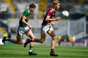 11 August 2019; Cian Hernon of Galway in action against Sean O'Brien of Kerry during the Electric Ireland GAA Football All-Ireland Minor Championship Semi-Final match between Kerry and Galway at Croke Park in Dublin. Photo by Brendan Moran/Sportsfile