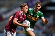 11 August 2019; Daniel Cox of Galway in action against Kieran O'Sullivan of Kerry during the Electric Ireland GAA Football All-Ireland Minor Championship Semi-Final match between Kerry and Galway at Croke Park in Dublin. Photo by Brendan Moran/Sportsfile