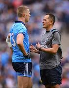 10 August 2019; Dublin forwards coach Jason Sherlock and Paul Mannion prior to the GAA Football All-Ireland Senior Championship Semi-Final match between Dublin and Mayo at Croke Park in Dublin. Photo by Stephen McCarthy/Sportsfile