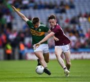 11 August 2019; Adam Curran of Kerry in action against Dylan Brady of Galway during the Electric Ireland GAA Football All-Ireland Minor Championship Semi-Final match between Kerry and Galway at Croke Park in Dublin. Photo by Ray McManus/Sportsfile