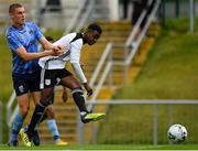 11 August 2019; BJ Banda of Letterkenny Rovers shoots to score his side's first goal, despite the attention of Jack Keaney of UCD, during the Extra.ie FAI Cup First Round match between UCD and Letterkenny Rovers at UCD Bowl in Belfield, Dublin. Photo by Seb Daly/Sportsfile