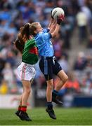 10 August 2019; Isobel Cronin, Clonegal NS, Clonegal, Enniscorthy, Wexford, representing Dublin, and Shelly Ryan, Ballyporeen NS, Cahir, Tipperary, representing Mayo, during the INTO Cumann na mBunscol GAA Respect Exhibition Go Games during the GAA Football All-Ireland Senior Championship Semi-Final match between Dublin and Mayo at Croke Park in Dublin. Photo by Stephen McCarthy/Sportsfile