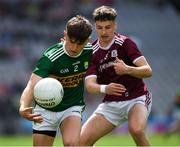 11 August 2019; Luke Chester of Kerry in action against Nathan Grainger of Galway during the Electric Ireland GAA Football All-Ireland Minor Championship Semi-Final match between Kerry and Galway at Croke Park in Dublin. Photo by Ray McManus/Sportsfile