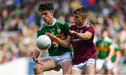 11 August 2019; Gearoid Hassett of Kerry in action against Liam Tevnan of Galway during the Electric Ireland GAA Football All-Ireland Minor Championship Semi-Final match between Kerry and Galway at Croke Park in Dublin. Photo by Brendan Moran/Sportsfile
