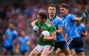 10 August 2019; Andy Moran of Mayo in action against Eoin Murchan and Michael Fitzsimons, right, of Dublin during the GAA Football All-Ireland Senior Championship Semi-Final match between Dublin and Mayo at Croke Park in Dublin. Photo by Stephen McCarthy/Sportsfile