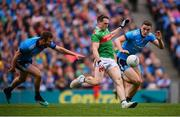 10 August 2019; Patrick Durcan of Mayo in action against Brian Fenton, right, and Jack McCaffrey of Dublin during the GAA Football All-Ireland Senior Championship Semi-Final match between Dublin and Mayo at Croke Park in Dublin. Photo by Stephen McCarthy/Sportsfile
