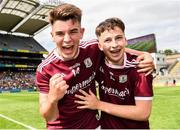 11 August 2019; Tomo Culhane, left, and Nathan Grainger of Galway celebrates following the Electric Ireland GAA Football All-Ireland Minor Championship Semi-Final match between Kerry and Galway at Croke Park in Dublin. Photo by Eóin Noonan/Sportsfile