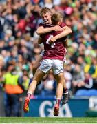 11 August 2019; Jonathan McGrath, left, and Liam Tevnan of Galway celebrate after the Electric Ireland GAA Football All-Ireland Minor Championship Semi-Final match between Kerry and Galway at Croke Park in Dublin. Photo by Brendan Moran/Sportsfile