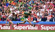 11 August 2019; Adrian Spillane of Kerry in action against Colm Cavanagh of Tyrone during the GAA Football All-Ireland Senior Championship Semi-Final match between Kerry and Tyrone at Croke Park in Dublin. Photo by Brendan Moran/Sportsfile