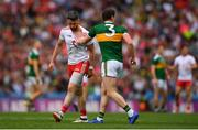 11 August 2019; Mattie Donnelly of Tyrone during a coming together with Tadhg Morley of Kerry during the GAA Football All-Ireland Senior Championship Semi-Final match between Kerry and Tyrone at Croke Park in Dublin. Photo by Eóin Noonan/Sportsfile