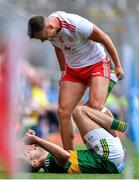 11 August 2019; Michael McKernan of Tyrone reacts to Adrian Spillane of Kerry during the GAA Football All-Ireland Senior Championship Semi-Final match between Kerry and Tyrone at Croke Park in Dublin. Photo by Brendan Moran/Sportsfile