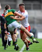 11 August 2019; Michael McKernan of Tyrone tackles Adrian Spillane of Kerry during the GAA Football All-Ireland Senior Championship Semi-Final match between Kerry and Tyrone at Croke Park in Dublin. Photo by Brendan Moran/Sportsfile