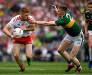 11 August 2019; Cathal McShane of Tyrone in action against Jason Foley of Kerry during the GAA Football All-Ireland Senior Championship Semi-Final match between Kerry and Tyrone at Croke Park in Dublin. Photo by Ray McManus/Sportsfile