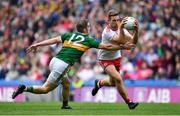 11 August 2019; Niall Sludden of Tyrone is tackled by Stephen O'Brien of Kerry during the GAA Football All-Ireland Senior Championship Semi-Final match between Kerry and Tyrone at Croke Park in Dublin. Photo by Brendan Moran/Sportsfile