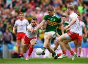 11 August 2019; Stephen O'Brien of Kerry scores his side's first goal of the game despite the efforts of Ronan McNamee of Tyrone during the GAA Football All-Ireland Senior Championship Semi-Final match between Kerry and Tyrone at Croke Park in Dublin. Photo by Eóin Noonan/Sportsfile