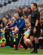 11 August 2019; Kerry manager Peter Keane celebrates after David Clifford of Kerry scores a late point during the GAA Football All-Ireland Senior Championship Semi-Final match between Kerry and Tyrone at Croke Park in Dublin. Photo by Eóin Noonan/Sportsfile