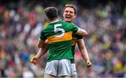 11 August 2019; Tadhg Morley, right, and team-mate Paul Murphy of Kerry celebrate at the final whistle during the GAA Football All-Ireland Senior Championship Semi-Final match between Kerry and Tyrone at Croke Park in Dublin. Photo by Brendan Moran/Sportsfile
