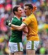 11 August 2019; Tadhg Morley, left and team-mate Shane Ryan of Kerry celebrate at the final whistle during the GAA Football All-Ireland Senior Championship Semi-Final match between Kerry and Tyrone at Croke Park in Dublin. Photo by Brendan Moran/Sportsfile
