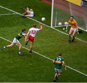 11 August 2019; Peter Harte of Tyrone has a shot on goal, which was subsequently saved by Shane Ryan of Kerry during the GAA Football All-Ireland Senior Championship Semi-Final match between Kerry and Tyrone at Croke Park in Dublin. Photo by Daire Brennan/Sportsfile