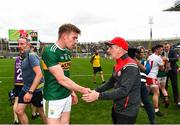 11 August 2019; Tommy Walsh of Kerry with Tyrone manager Mickey Harte following the GAA Football All-Ireland Senior Championship Semi-Final match between Kerry and Tyrone at Croke Park in Dublin. Photo by Eóin Noonan/Sportsfile