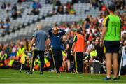 11 August 2019; Kerry manager Peter Keane reacts after Stephen O'Brien of Kerry is shown a black card by referee Maurice Deegan during the GAA Football All-Ireland Senior Championship Semi-Final match between Kerry and Tyrone at Croke Park in Dublin. Photo by Eóin Noonan/Sportsfile