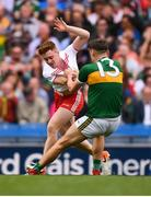 11 August 2019; David Clifford of Kerry and Conor Meyler of Tyrone tussle during the GAA Football All-Ireland Senior Championship Semi-Final match between Kerry and Tyrone at Croke Park in Dublin. Photo by Stephen McCarthy/Sportsfile