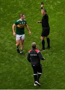 11 August 2019; Referee Maurice Deegan shows Stephen O'Brien of Kerry a black card during the GAA Football All-Ireland Senior Championship Semi-Final match between Kerry and Tyrone at Croke Park in Dublin. Photo by Daire Brennan/Sportsfile