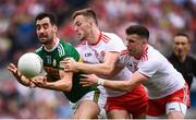 11 August 2019; Jack Sherwood of Kerry in action against Brian Kennedy and Connor McAliskey, right, of Tyrone during the GAA Football All-Ireland Senior Championship Semi-Final match between Kerry and Tyrone at Croke Park in Dublin. Photo by Stephen McCarthy/Sportsfile