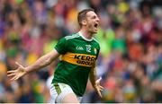 11 August 2019; Stephen O'Brien of Kerry celebrates after scoring his side's first goal of the game during the GAA Football All-Ireland Senior Championship Semi-Final match between Kerry and Tyrone at Croke Park in Dublin. Photo by Eóin Noonan/Sportsfile