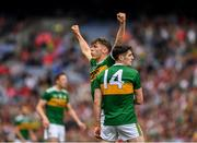 11 August 2019; David Clifford of Kerry celebrates with Paul Geaney after scoring a point in the 76th minute during the GAA Football All-Ireland Senior Championship Semi-Final match between Kerry and Tyrone at Croke Park in Dublin. Photo by Ray McManus/Sportsfile