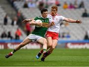 11 August 2019; Paul Murphy of Kerry is tackled by Peter Harte of Tyrone during the GAA Football All-Ireland Senior Championship Semi-Final match between Kerry and Tyrone at Croke Park in Dublin. Photo by Ray McManus/Sportsfile