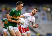 11 August 2019; David Clifford of Kerry in action against Ronan McNamee of Tyrone during the GAA Football All-Ireland Senior Championship Semi-Final match between Kerry and Tyrone at Croke Park in Dublin. Photo by Ray McManus/Sportsfile