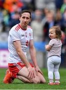 11 August 2019; Colm Cavanagh of Tyrone with his daughter Chloe after the GAA Football All-Ireland Senior Championship Semi-Final match between Kerry and Tyrone at Croke Park in Dublin. Photo by Brendan Moran/Sportsfile