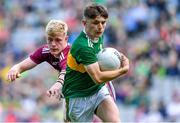 11 August 2019; Luke Chester of Kerry in action against James McLaughlin of Galway during the Electric Ireland GAA Football All-Ireland Minor Championship Semi-Final match between Kerry and Galway at Croke Park in Dublin. Photo by Brendan Moran/Sportsfile