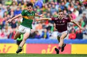 11 August 2019; Gearoid Hassett of Kerry in action against Jonathan McGrath of Galway during the Electric Ireland GAA Football All-Ireland Minor Championship Semi-Final match between Kerry and Galway at Croke Park in Dublin. Photo by Brendan Moran/Sportsfile