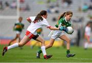 11 August 2019; Clara Casey, St Patrick's PS, Pennyburn, 22 Racecourse Road, Derry, representing Kerry, in action against Amy Jo Kierans, Latnamard, Smithborough, Monaghan, representing Tyrone, during the INTO Cumann na mBunscol GAA Respect Exhibition Go Games during the GAA Football All-Ireland Senior Championship Semi-Final match between Kerry and Tyrone at Croke Park in Dublin. Photo by Eóin Noonan/Sportsfile