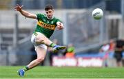 11 August 2019; Paul Geaney of Kerry kicks a point from a mistake by Tyrone goalkeeper Niall Morgan during the GAA Football All-Ireland Senior Championship Semi-Final match between Kerry and Tyrone at Croke Park in Dublin. Photo by Brendan Moran/Sportsfile