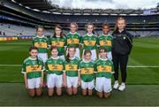 11 August 2019; The Kerry team, back row, left to right, Aideen Reddy, Bunscoil Bhóthar na Naomh, Lismore, Waterford, Ciara Parker, St Columban's PS, Belcoo, Fermanagh, Philomena Gillman, Mullinahone NS, Mullinahone, Tipperary, Mischia Rooney, Ballapousta NS, Ardee, Louth, Emma Lynch, Gilson NS, Oldcastle, Meath, Alexandra Peter, Castlerara NS, Drumohan, Cavan, front row, left to right, Clara Casey, St Patrick's PS, Pennyburn, 22 Racecourse Road, Derry, Marie Cranny, Bennekerry NS, Bennekerry, Carlow, Kate Conefrey, Fenagh NS, Ballinamore, Leitrim, Isabel Beaddie, Scoil Neasáin, Baile Hearman, Áth Cliath, ahead of the INTO Cumann na mBunscol GAA Respect Exhibition Go Games during the GAA Football All-Ireland Senior Championship Semi-Final match between Kerry and Tyrone at Croke Park in Dublin. Photo by  Piaras Ó Mídheach/Sportsfile